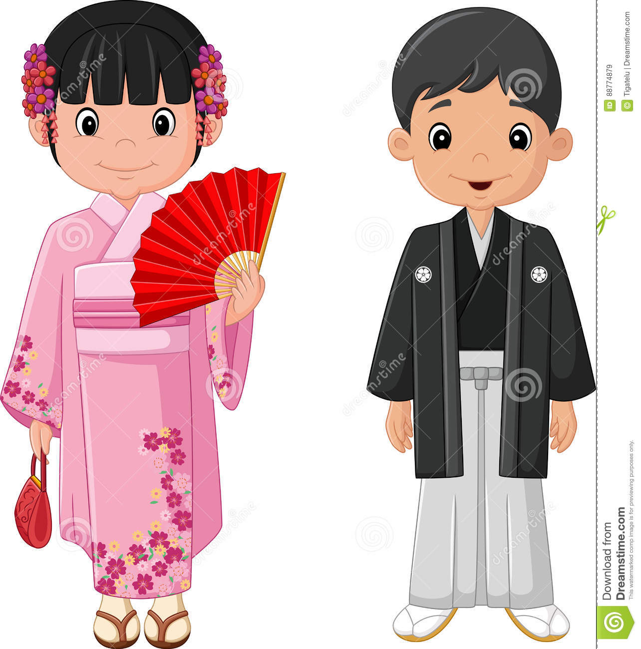Cartoon couples asians doll