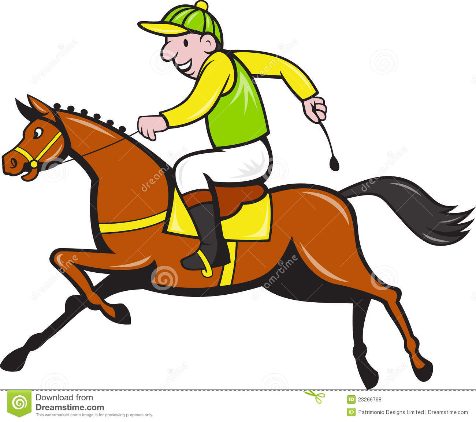 Cartoon Jockey And Horse Racing Side Illustration Of A Equestrian