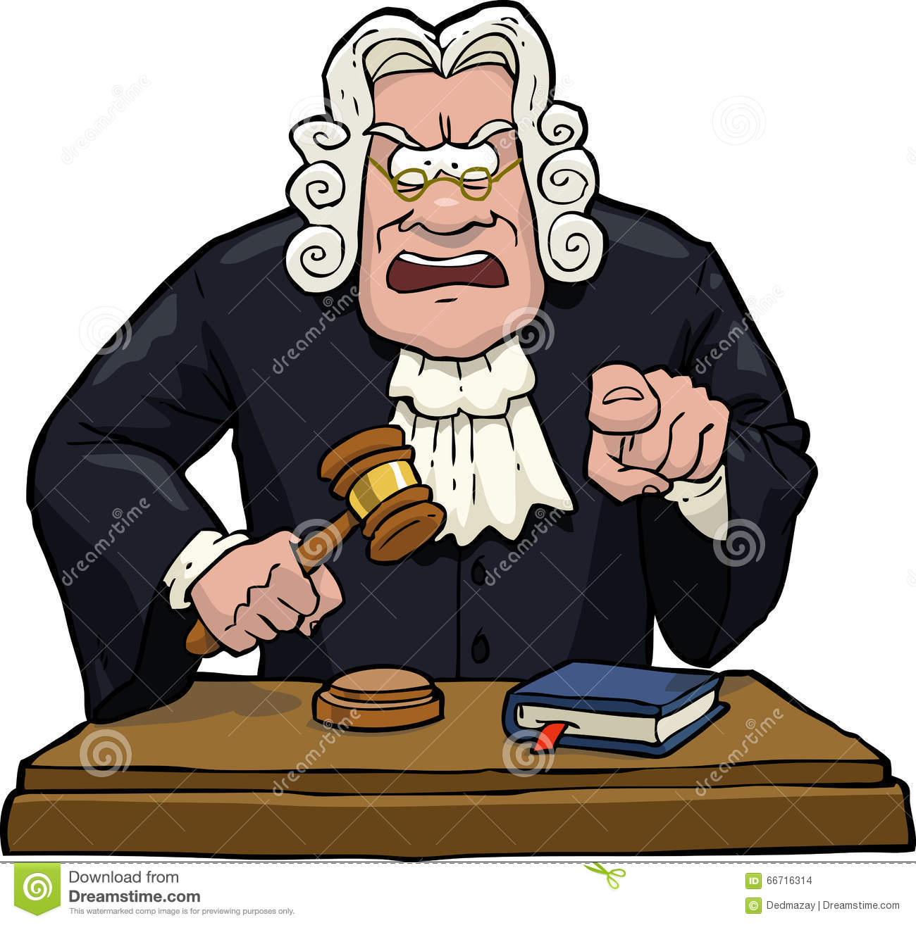 Cartoon judge accuses on a white background illustration.