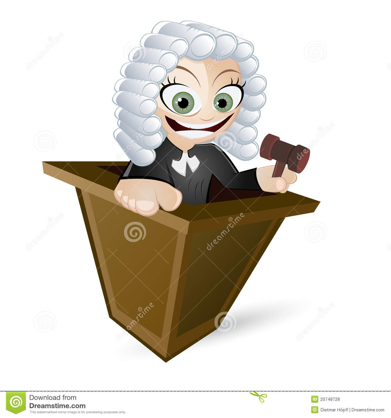 Cartoon Judge With Wig Stock Vector Illustration Of