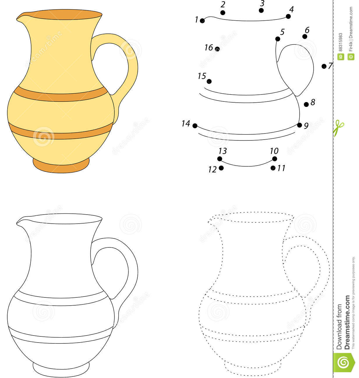 Cartoon Jug Dot To Dot Game For Kids Stock Vector Illustration Of Count Line 88315983
