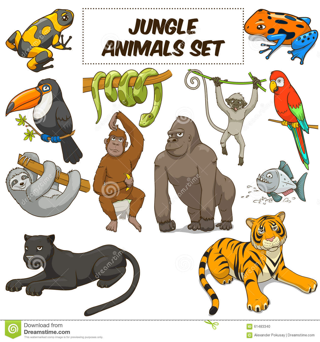 Cartoon Jungle Animals Set Vector Stock Image