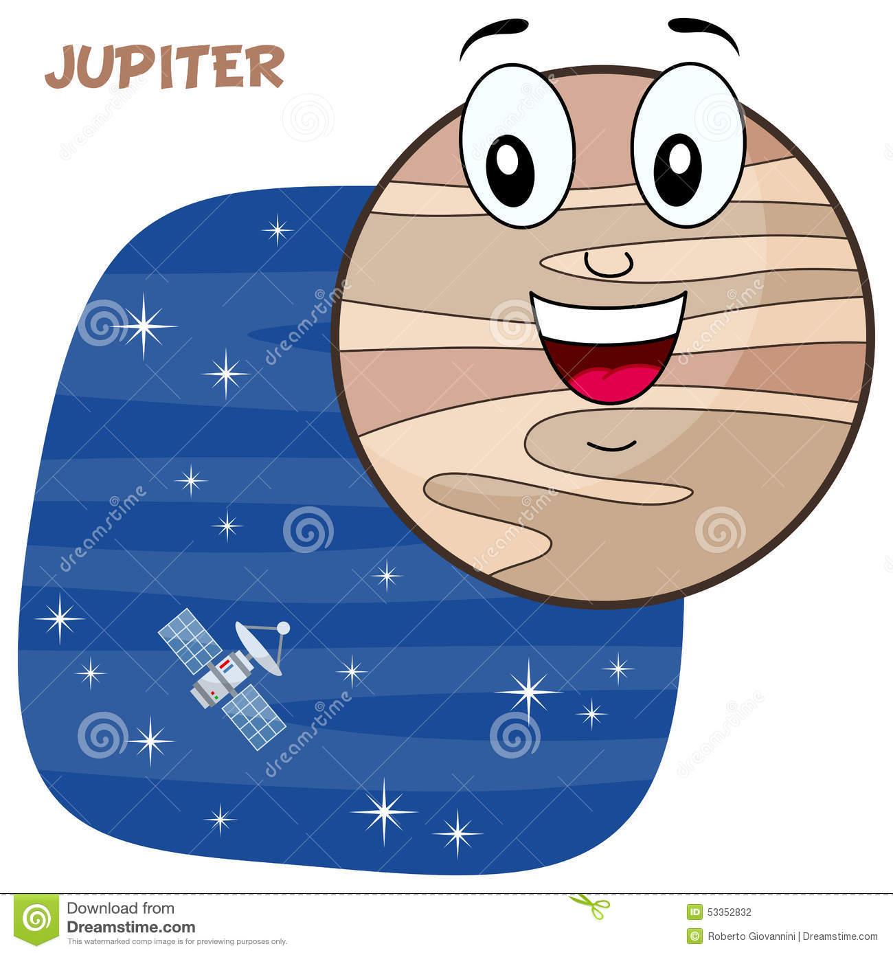 happy cartoon planet Jupiter character smiling, on a blue outer space ...
