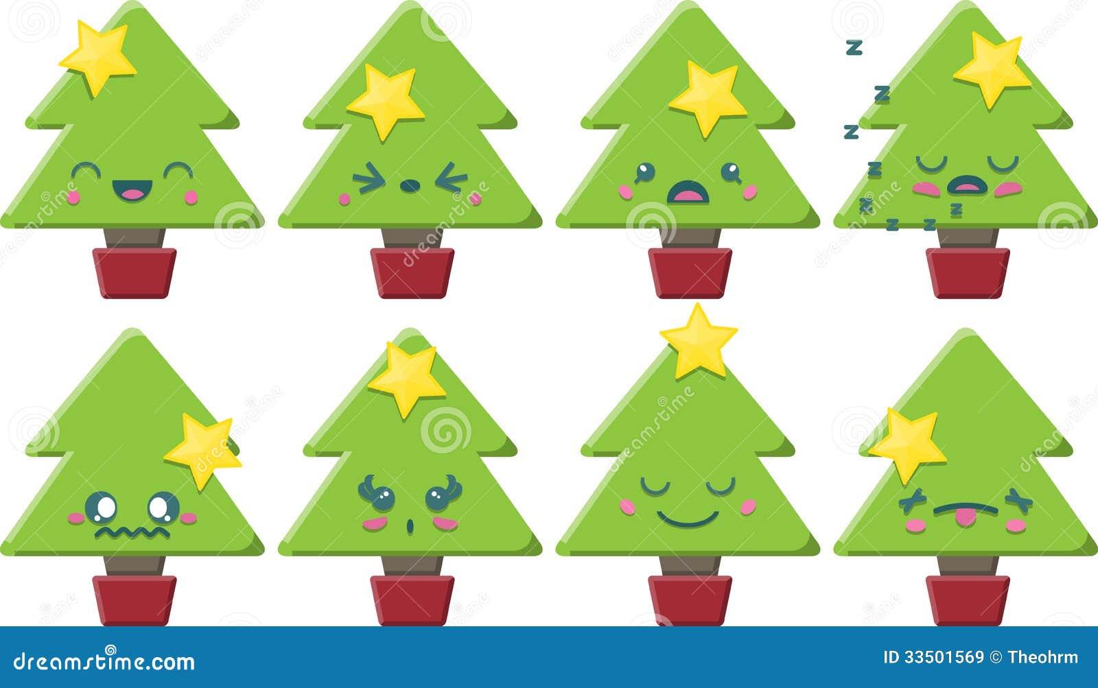 Cartoon Kawaii Christmas Tree Set Royalty Free Stock Images ...