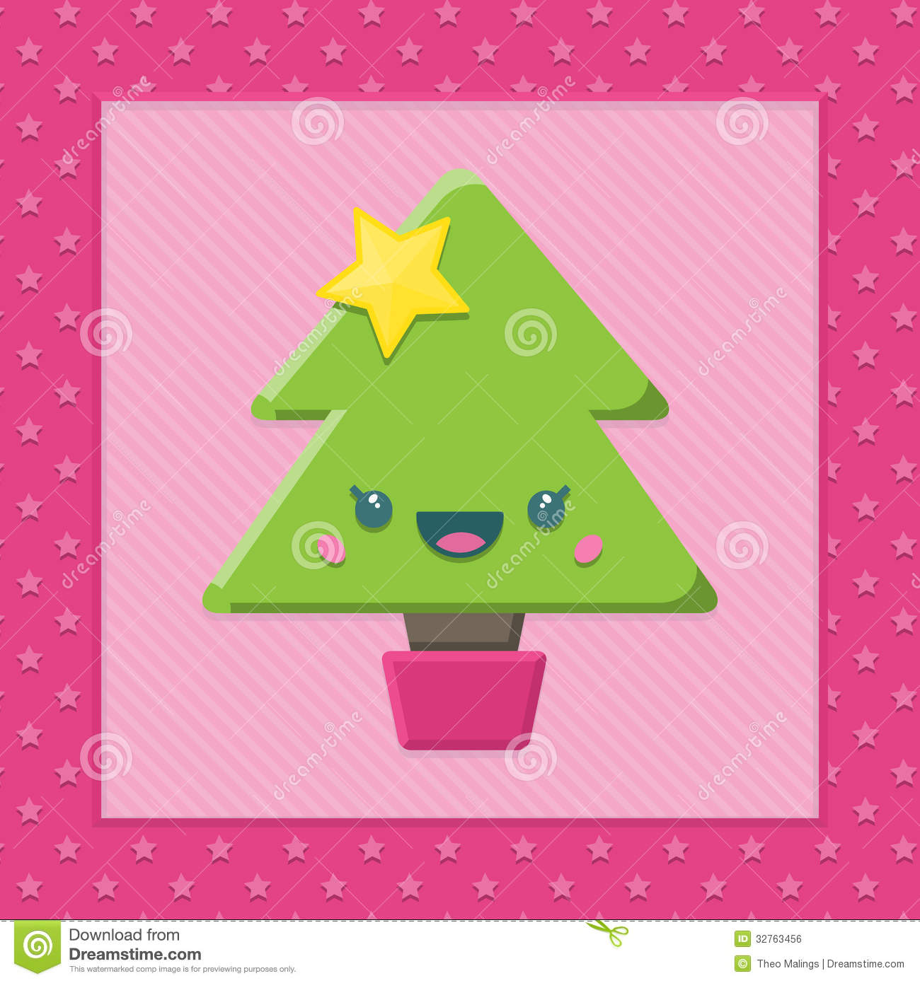 Cartoon Kawaii Christmas Tree Stock Vector - Illustration of ...