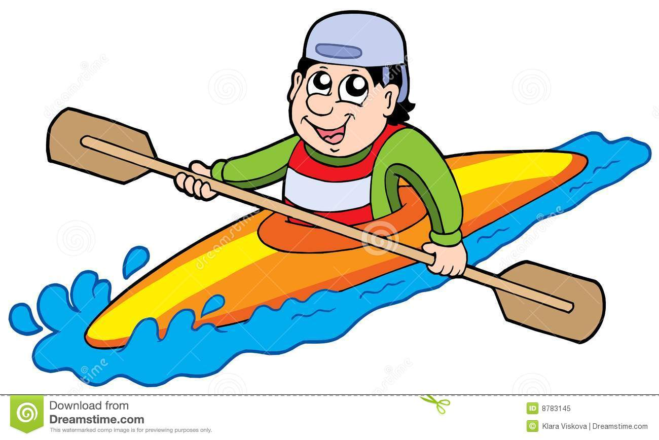 Cartoon kayaker on white background - vector illustration.