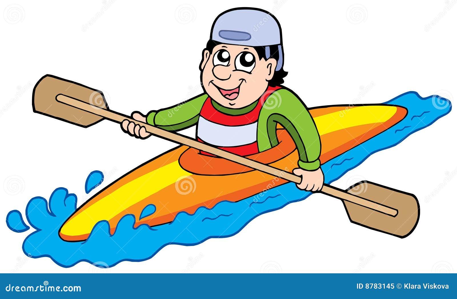 Cartoon kayaker on white background - vector illustration.