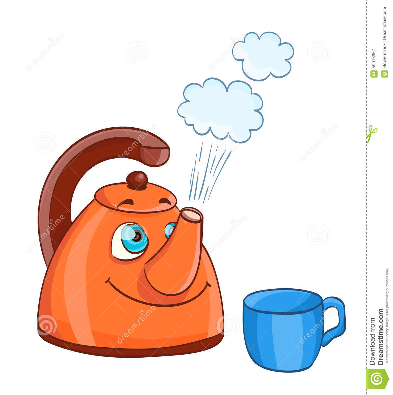 Cartoon Kettle With Boiling Water With Eyes And A Cup Stock Vector ...