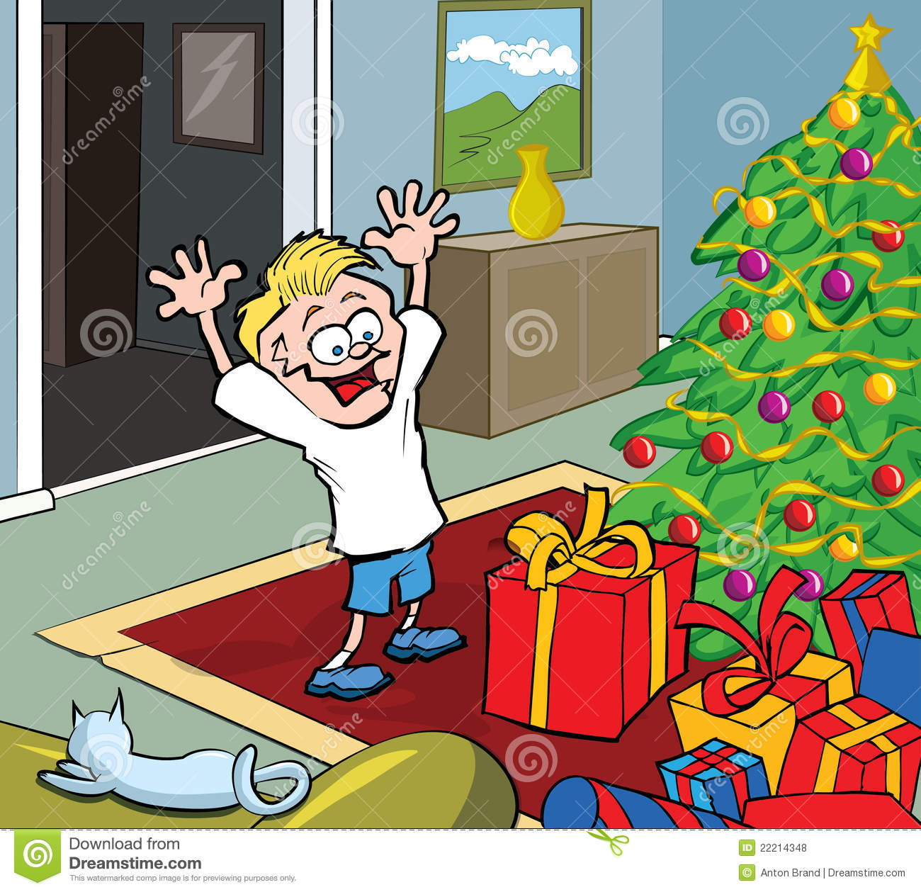 Cartoon Kid On Christmas Morning Opening Gifts Royalty ...