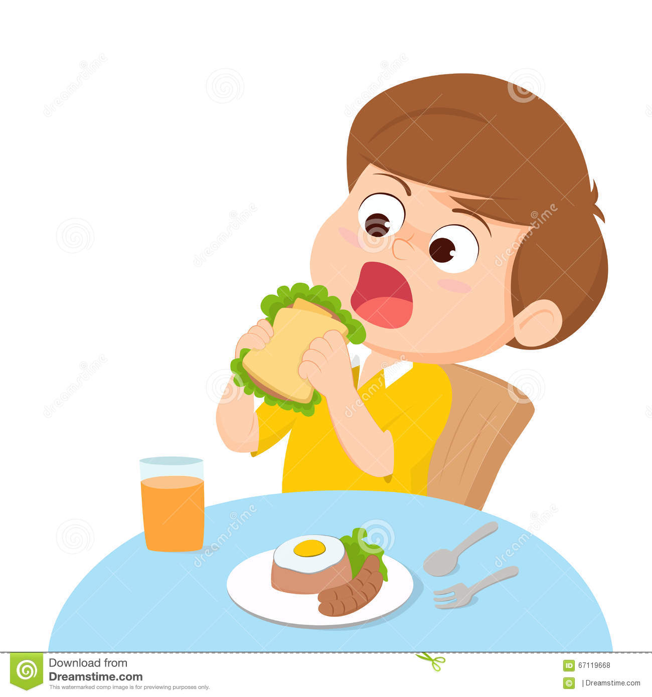 Clipart Kid Eating