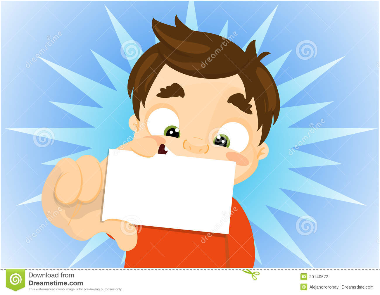cartoon kid holding a blank business card stock photography   image
