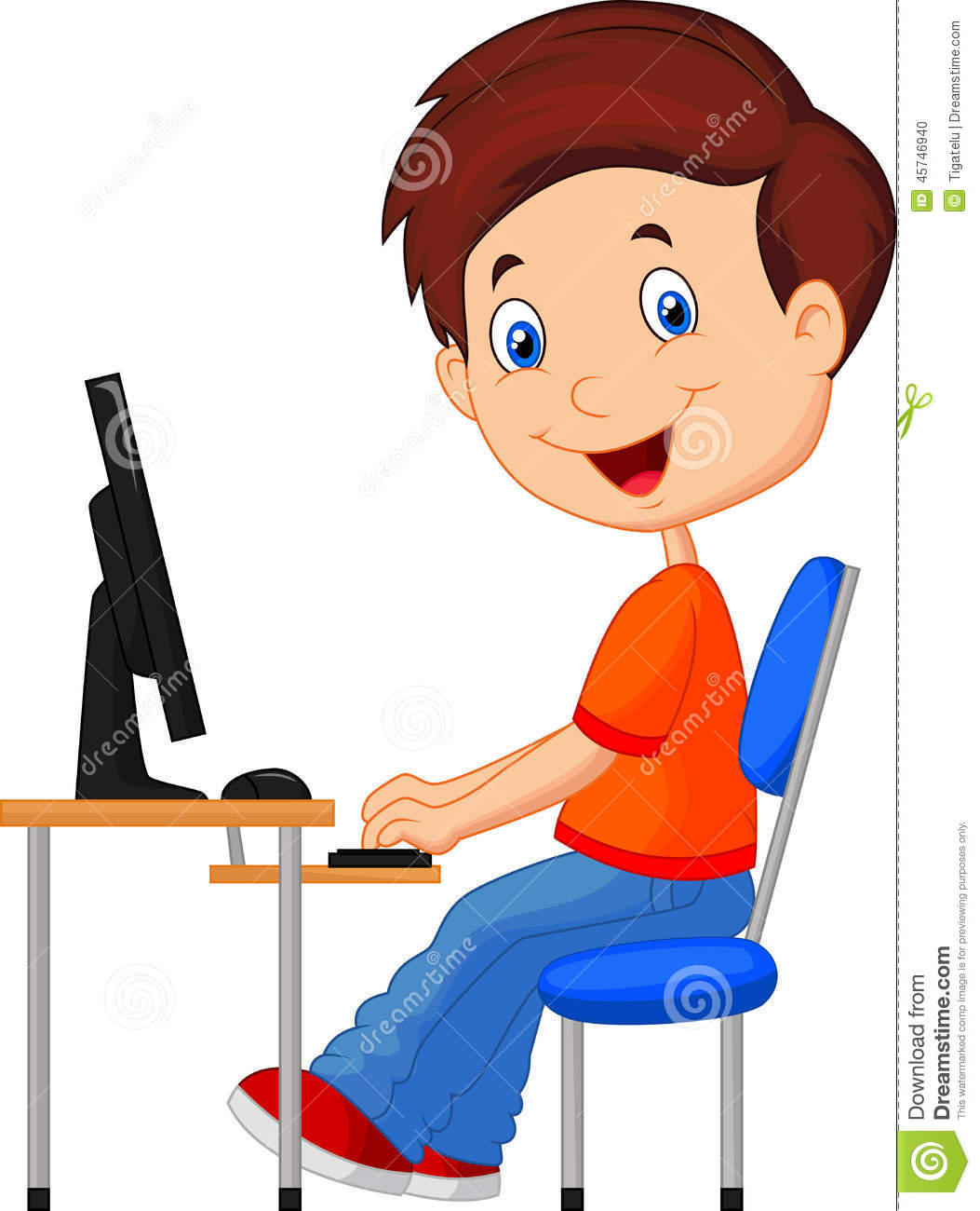 cartoon kid with personal computer stock vector image little boy clipart jpeg free little boy clipart in a house scared