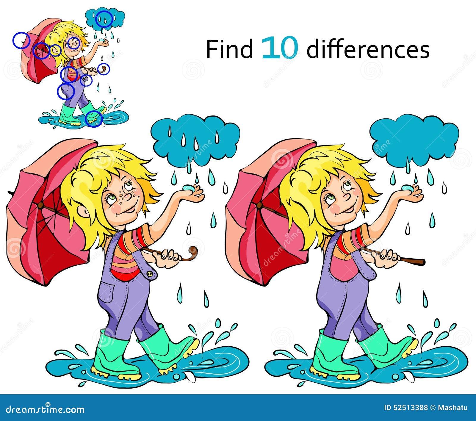 Cartoon Kid Playing In The Rain Vector Stock Vector
