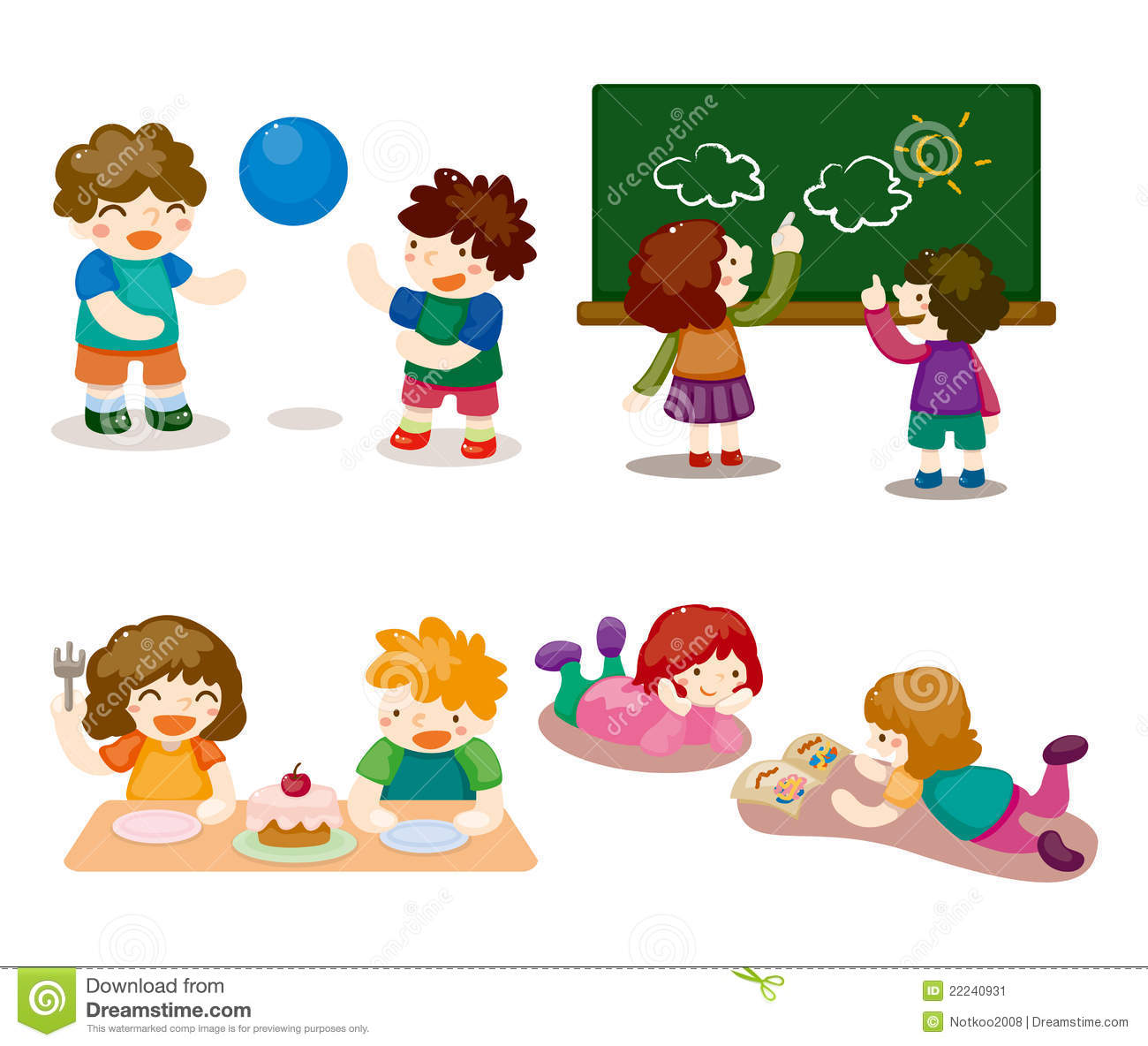 cartoon kid playing set stock image - Cartoon Kid Images