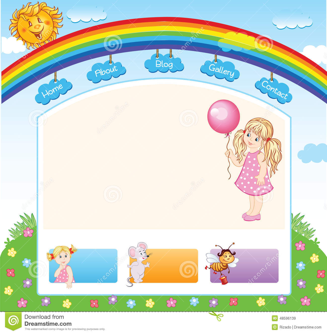 Cartoon Kid Rainbow Template Stock Vector - Image: 48596139