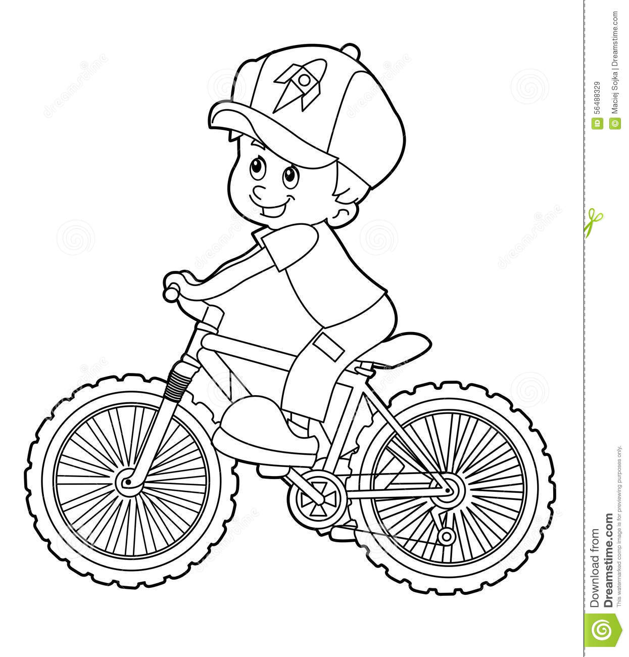 Cartoon kid riding bicycle coloring page royalty free for Bike riding coloring pages