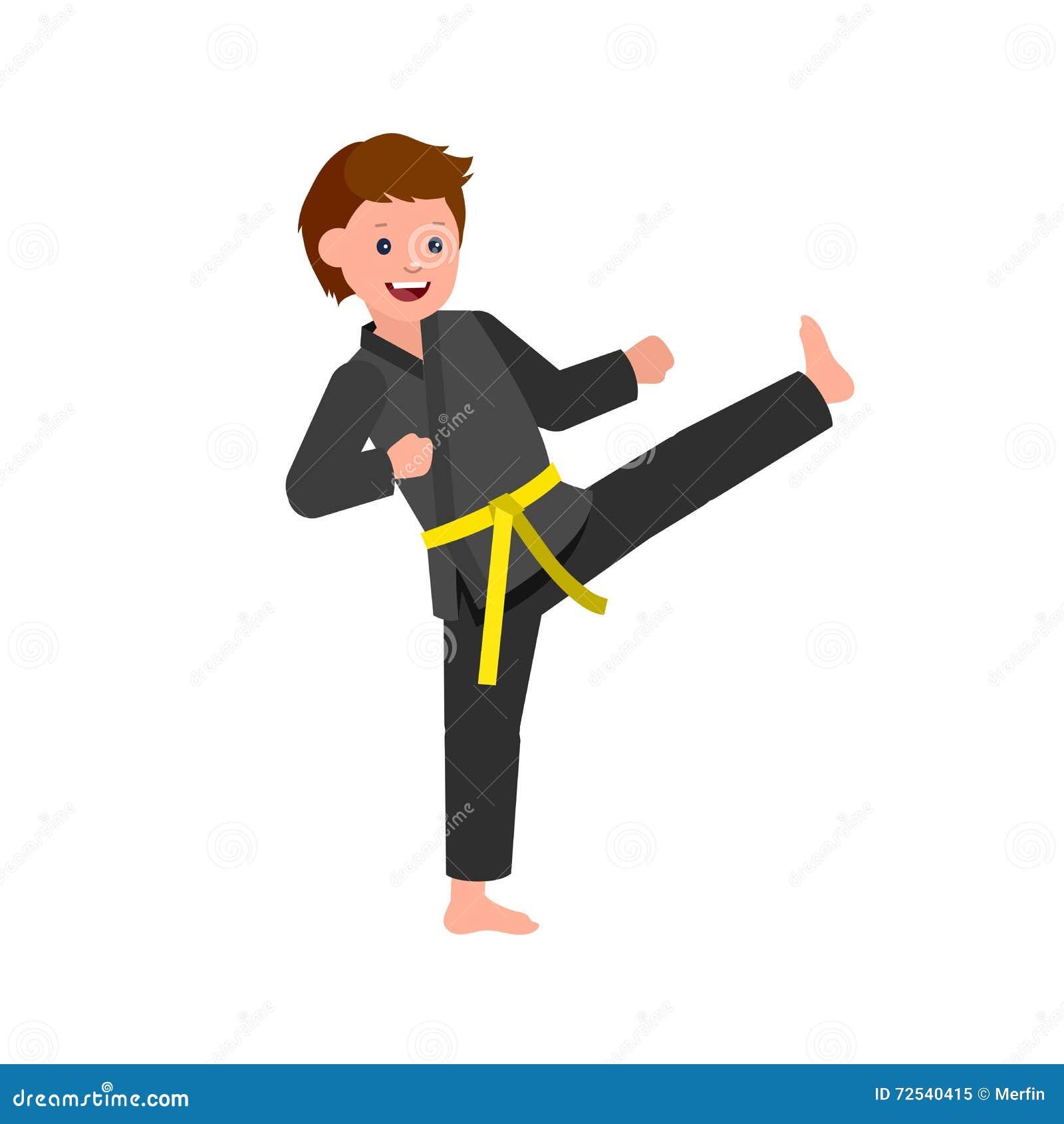 Cartoon Kid Wearing Kimono Martial Art Stock Vector