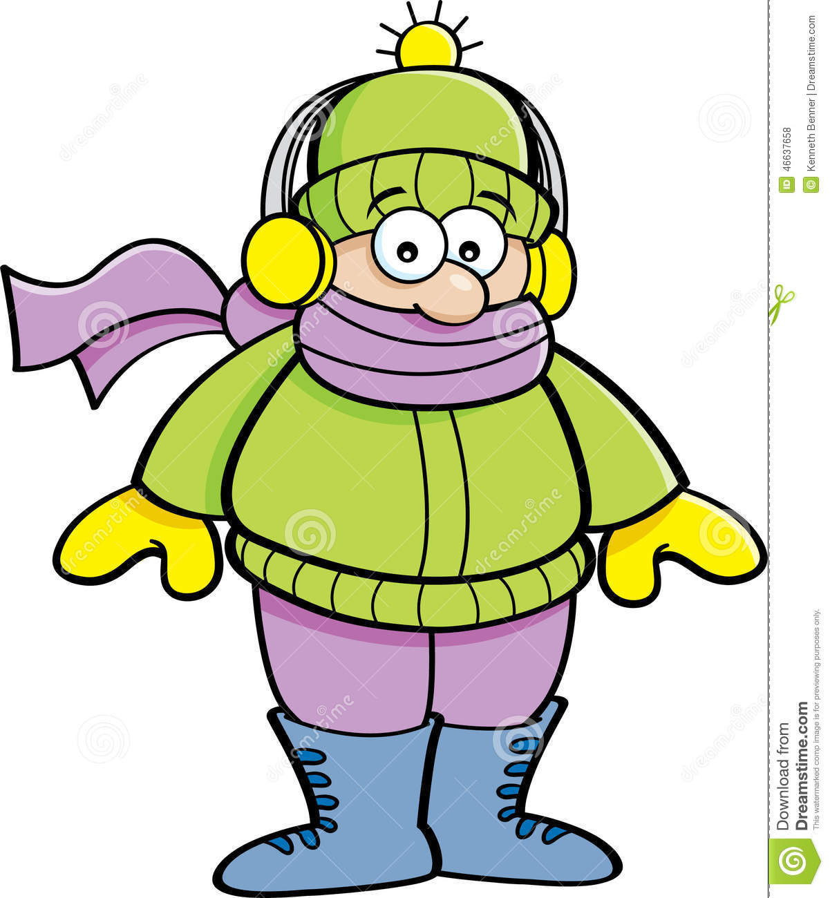 cartoon kid wearing winter clothing stock vector illustration of rh dreamstime com winter clothes clipart free winter clothing clip art free download