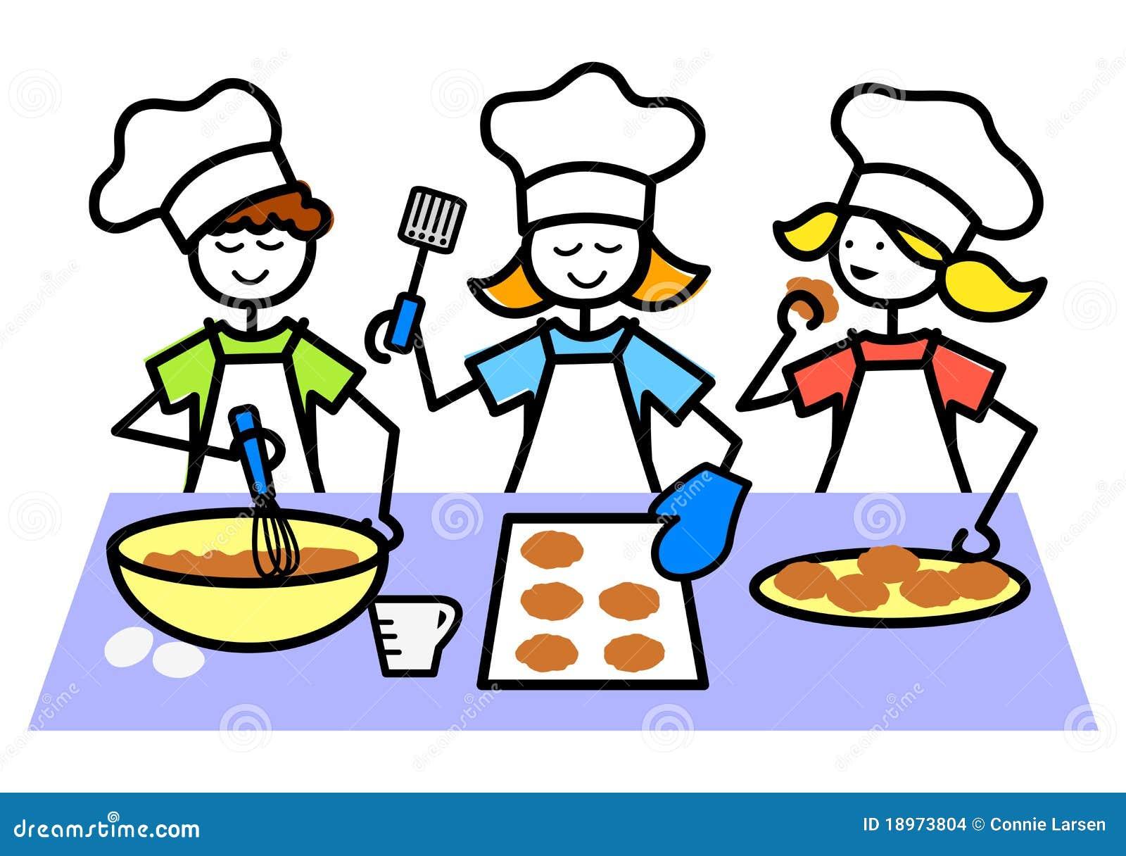cartoon kids baking cookies  eps stock vector cook clip art borders cook clip art borders