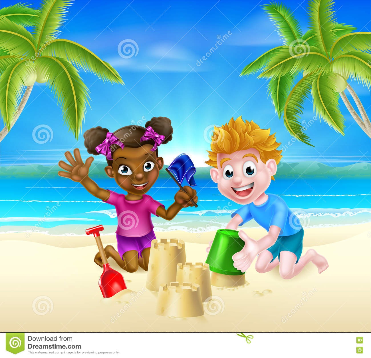 Cartoon Kids On The Beach
