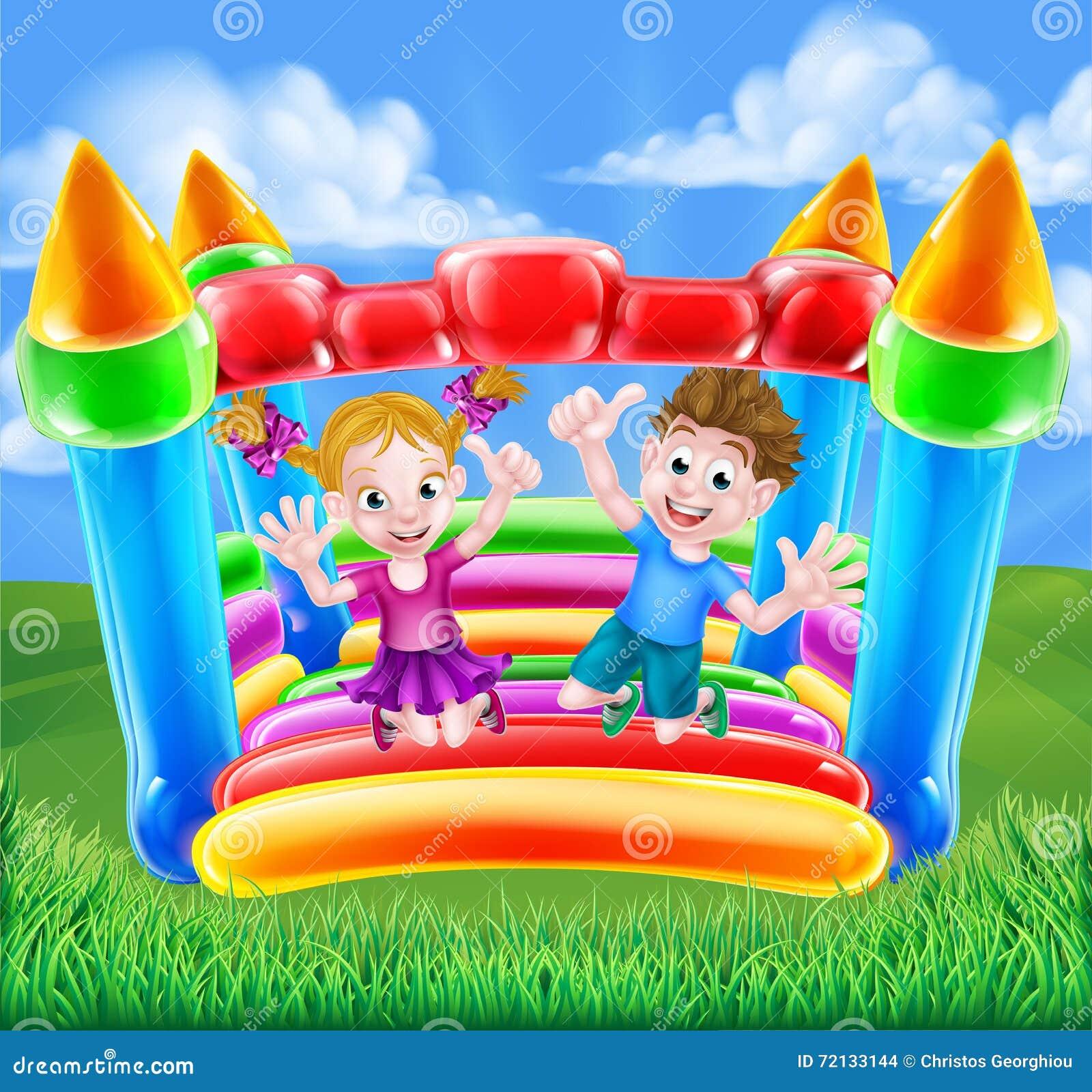 Cartoon Kids On Bouncy Castle Vector Illustration