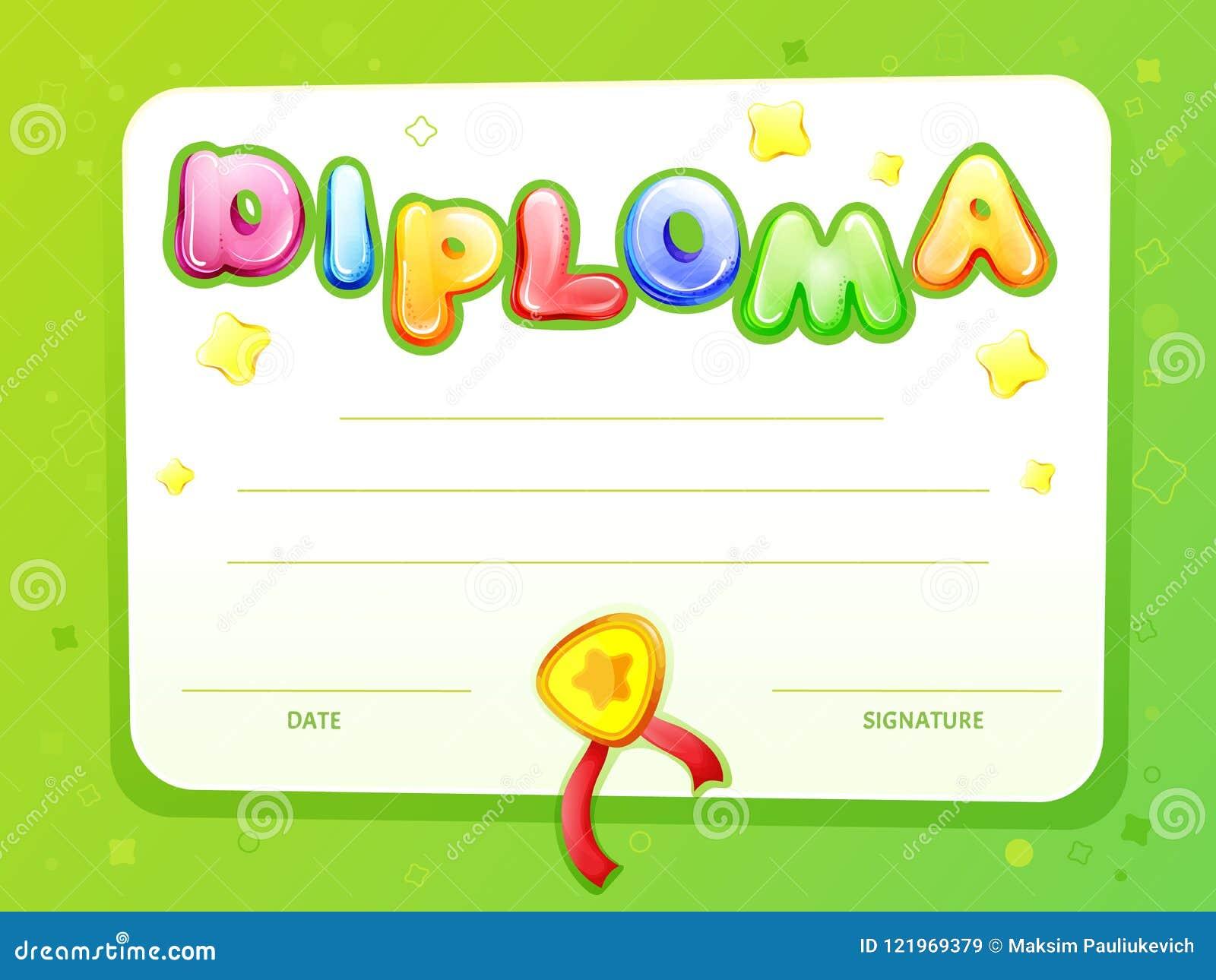 cartoon kids certificate diploma template stock illustration