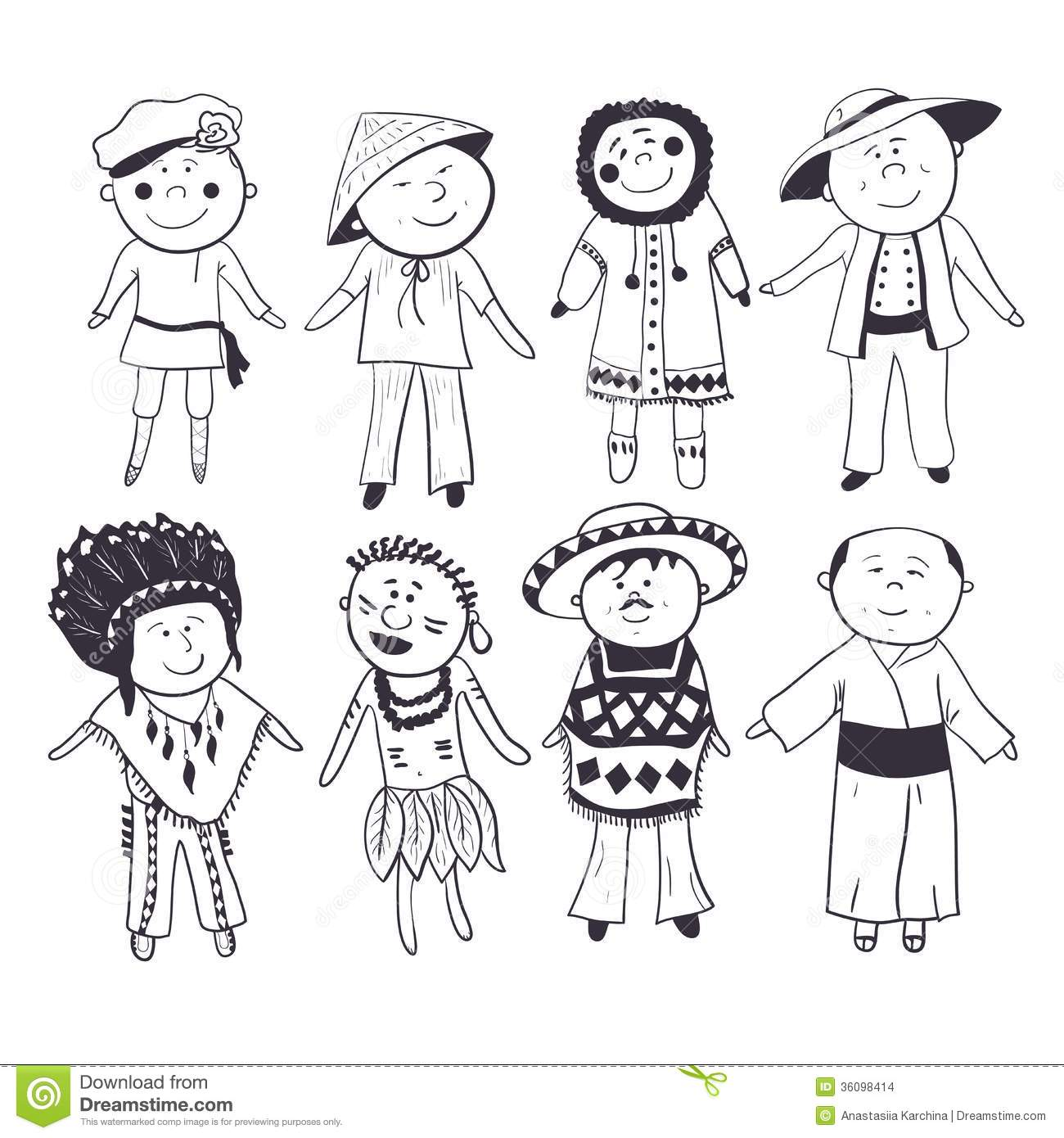 Cartoon Children In Different Traditional Costumes Black white Sketch