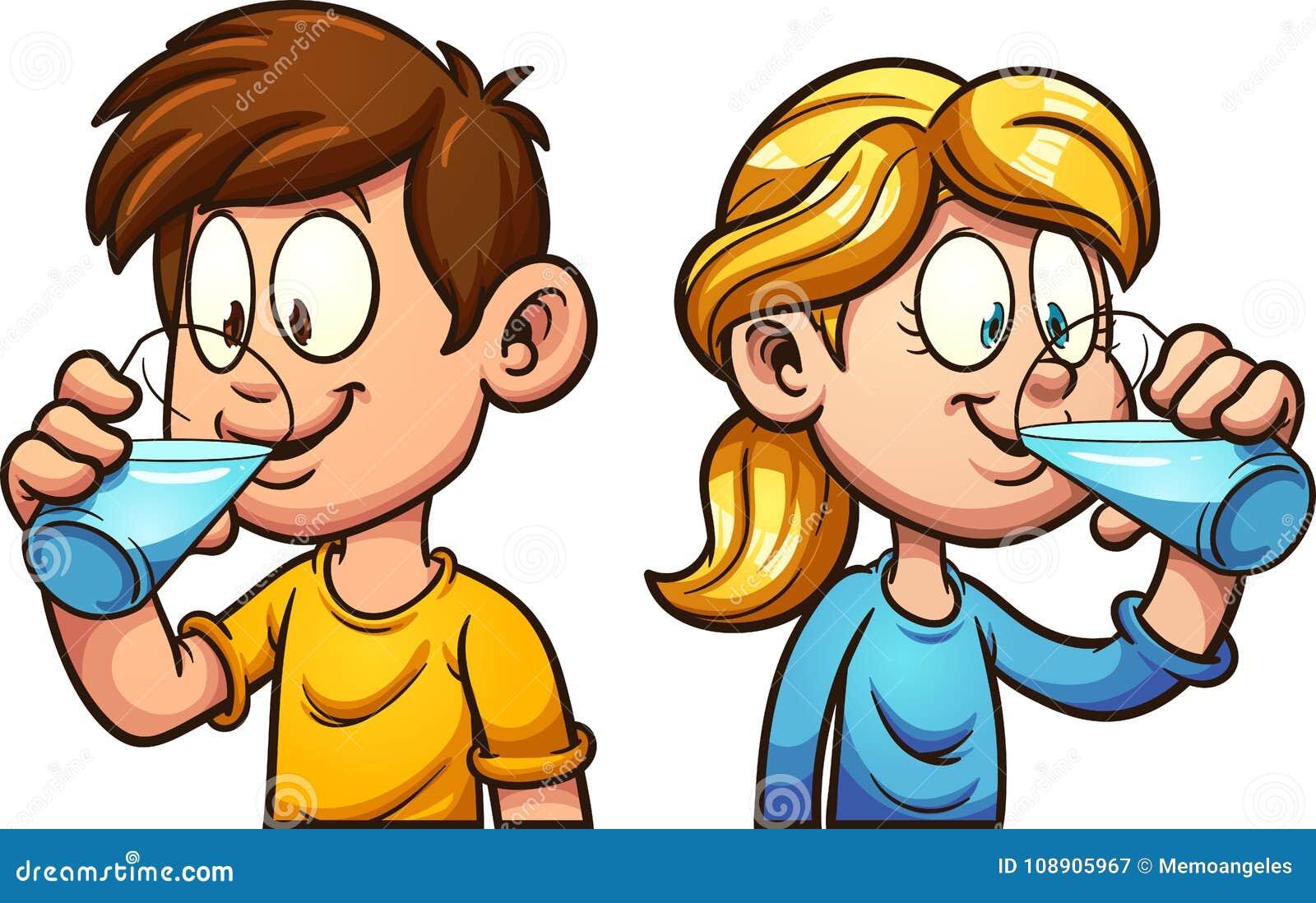 cartoon kids drinking water stock vector illustration of drinking rh dreamstime com clipart drinking fountain clipart drinking coffee