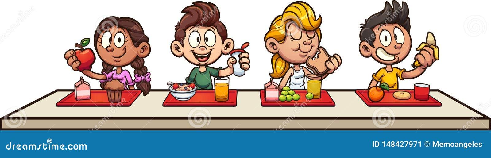 Cartoon Kids Eating Breakfast At School Stock Vector ...