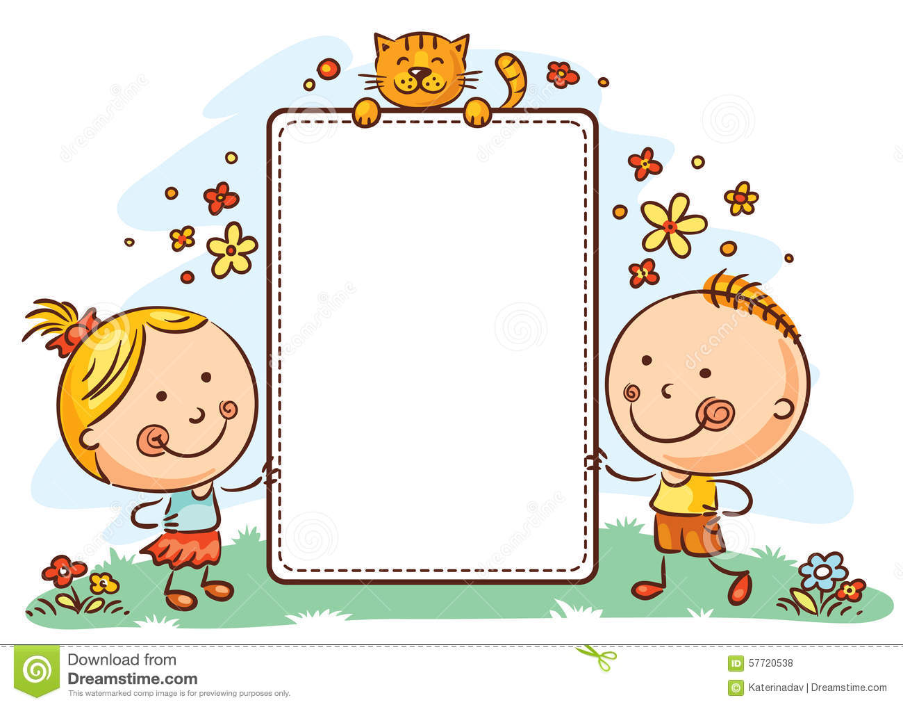 cartoon kids with a frame with copy space stock vector