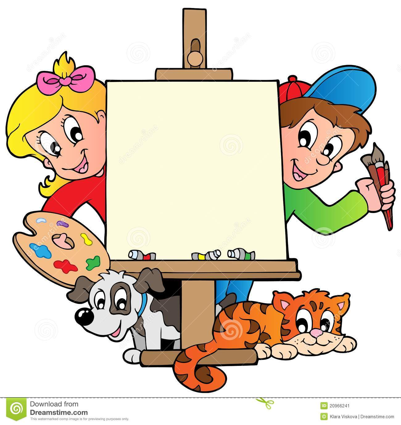 Cartoon Kids With Painting Canvas Stock Vector Illustration Of