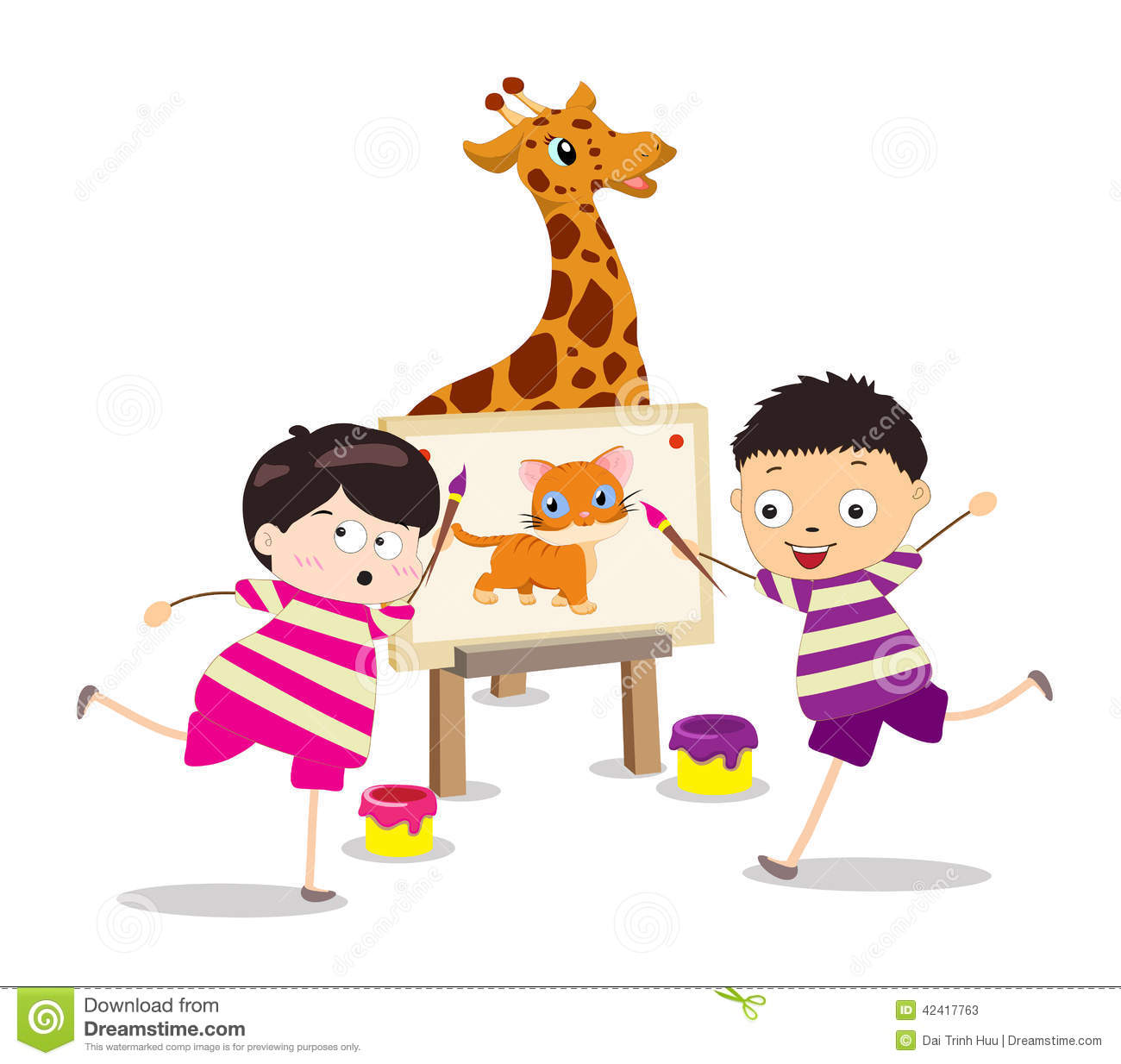 cartoon kids painting stock vector image 72822864