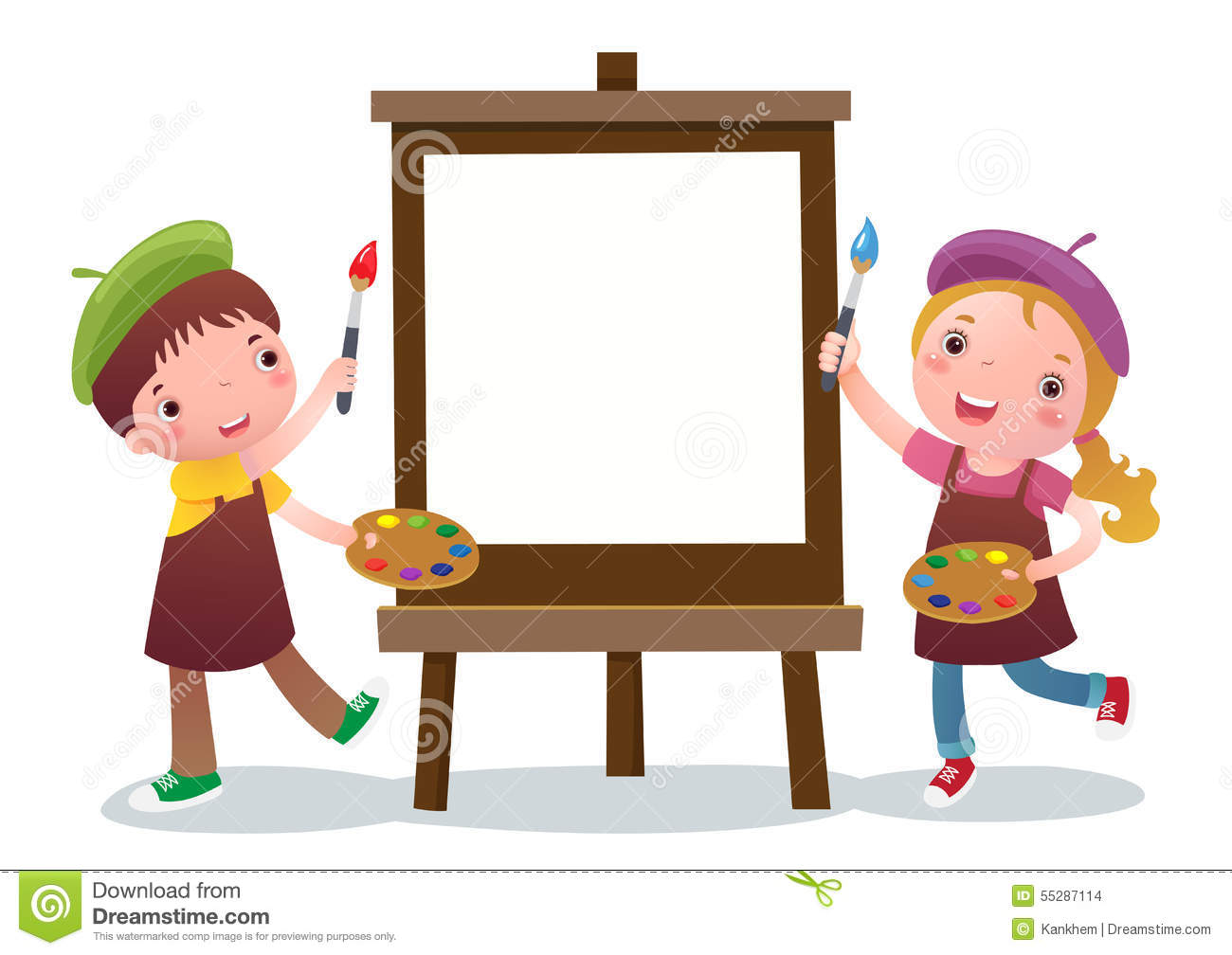 cartoon kids with painting canvas - Cartoon Pictures For Kids
