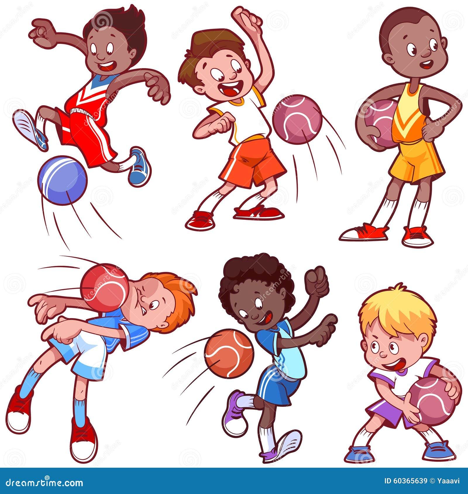 Cartoon Kids Playing Dodgeball. Stock Vector - Illustration of game, dodgeball: 60365639