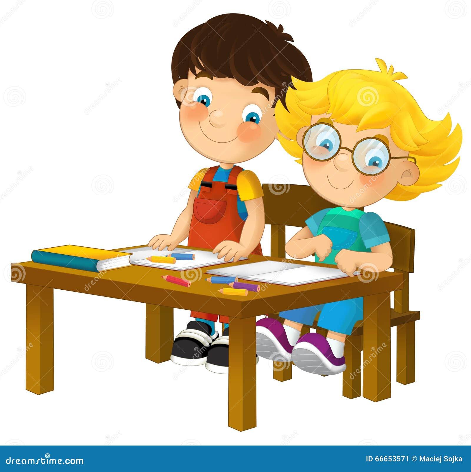 Cartoon Kids In School Desk Isolated Stock Illustration