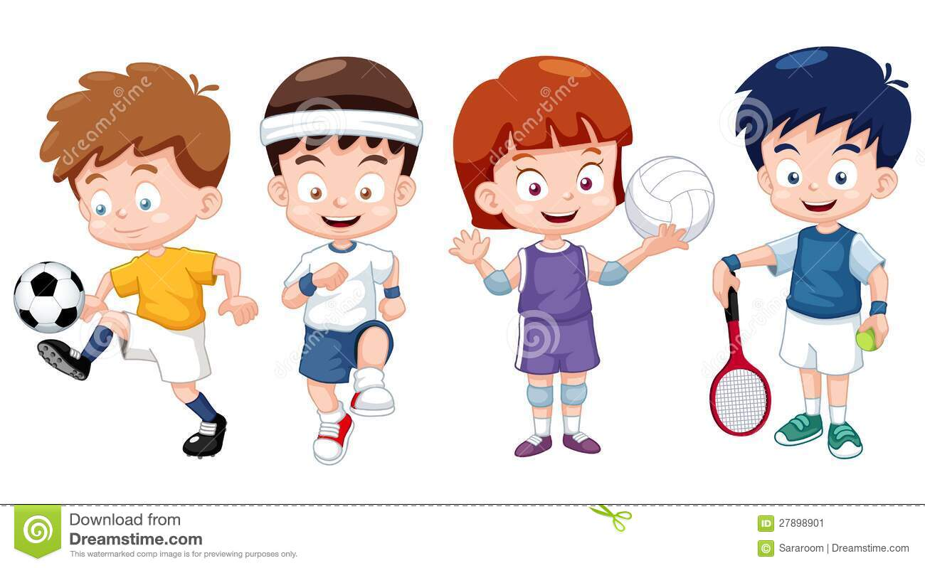 illustration of cartoon kids sports characters mr no pr no 5 4968 47