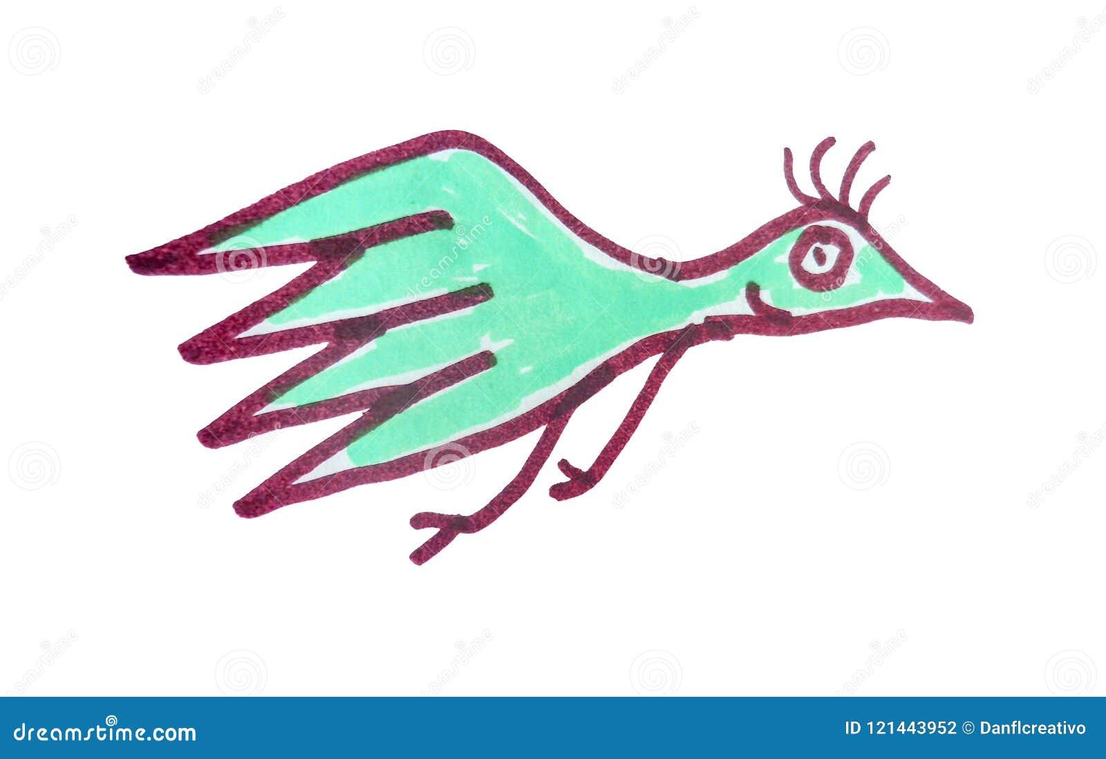 Cartoon Kids Style Bird Flying Illustration Stock Illustration Illustration Of Sketch Hand 121443952