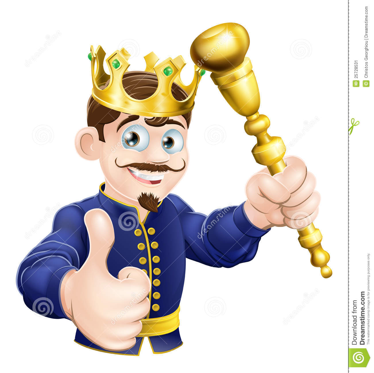 Illustration of a happy cartoon king holding a gold sceptre.
