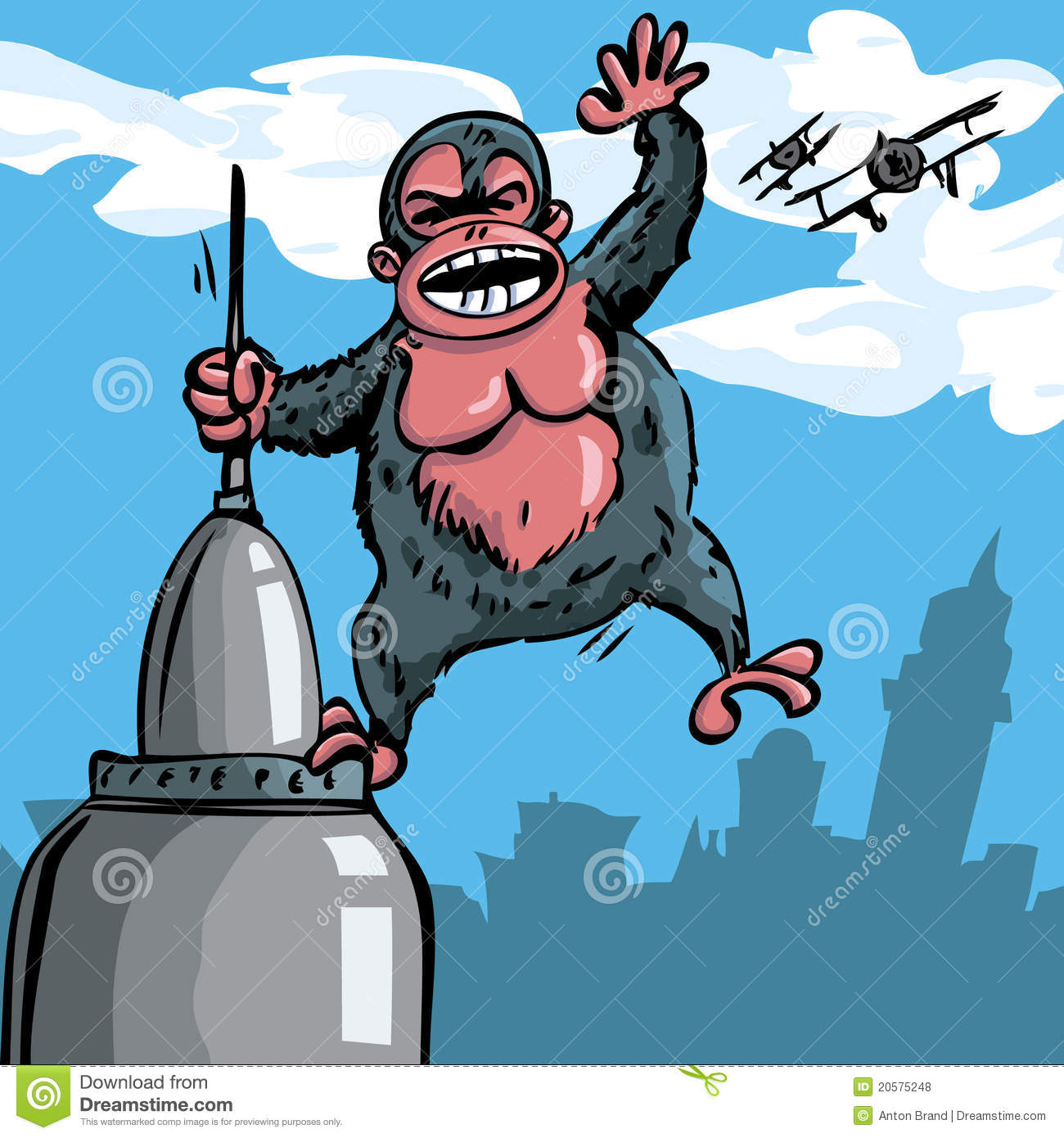 Cartoon King Kong Hanging On A Skyscraper Royalty Free ...