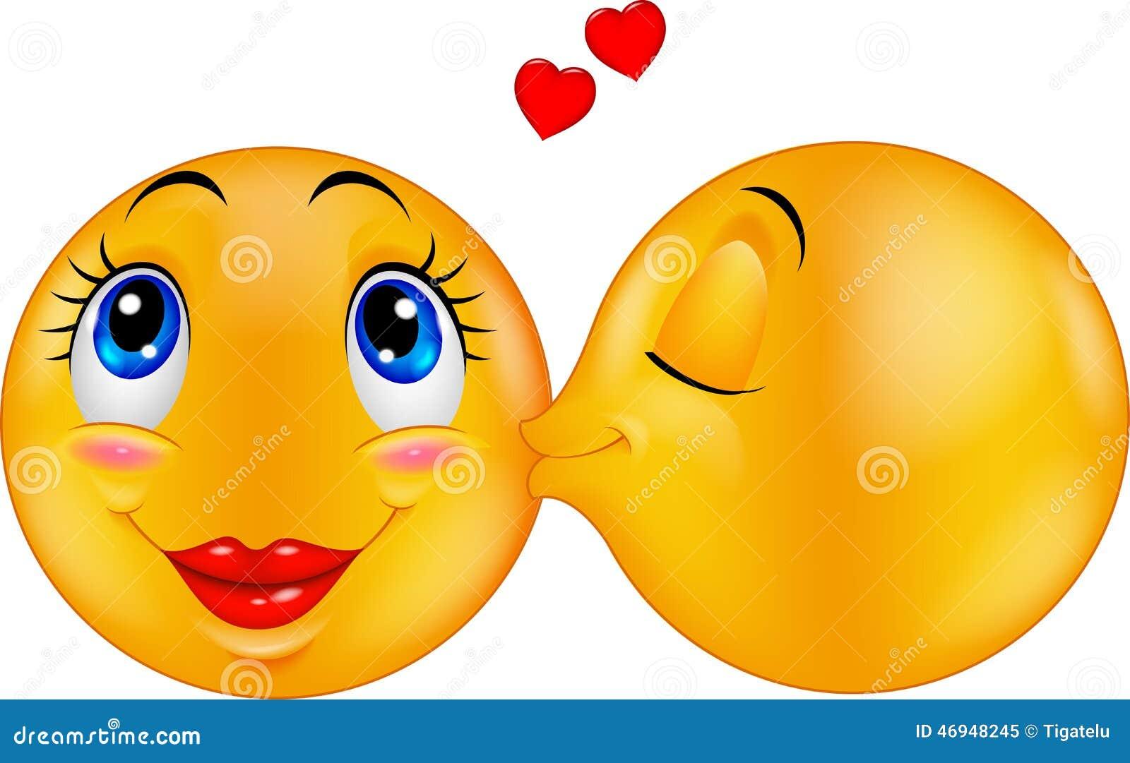 Cartoon Kissing Emoticon Stock Vector Illustration Of