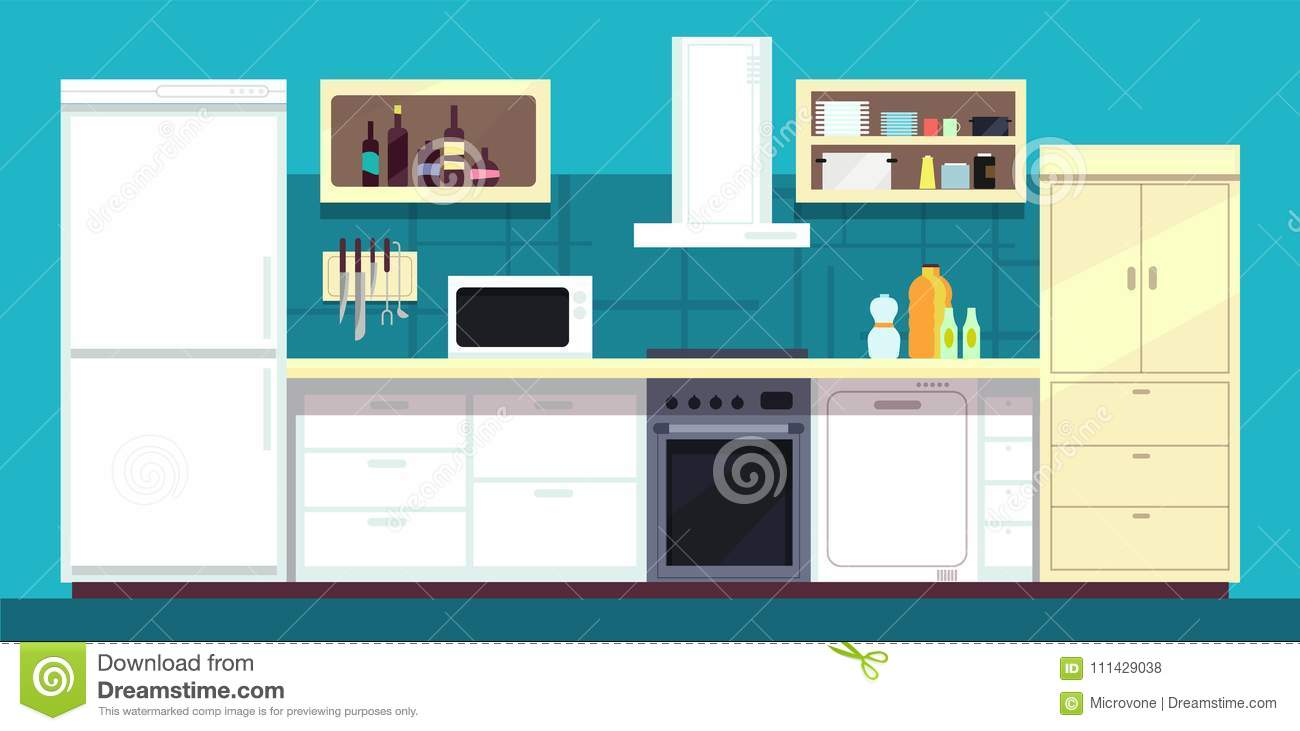 Cartoon Kitchen Interior With Fridge, Oven And Other Home Cooking ...