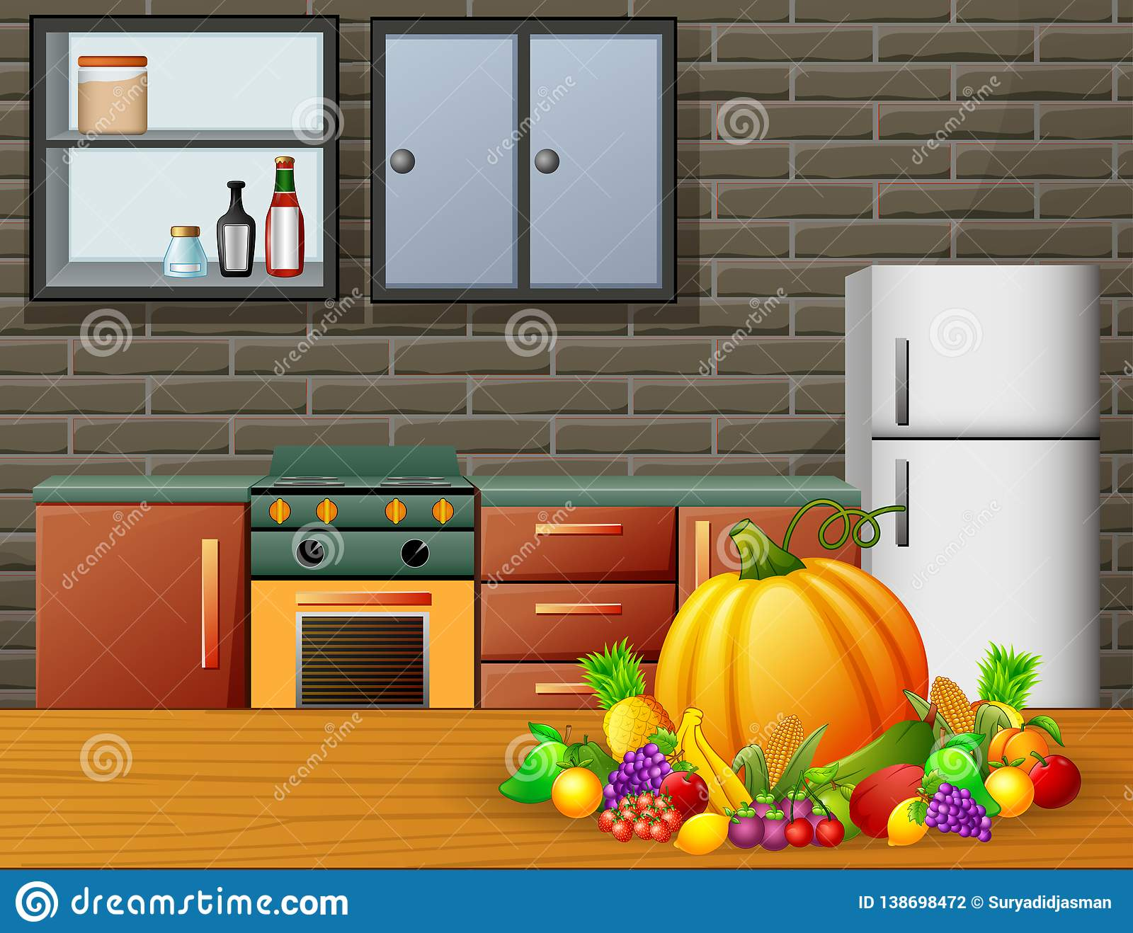 cartoon kitchen interior with furniture and fruits on a
