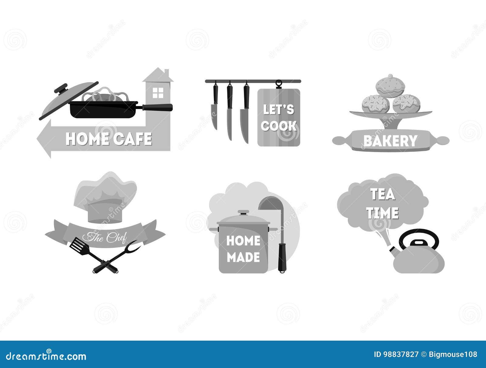 cartoon kitchen labels set vector stock vector illustration of