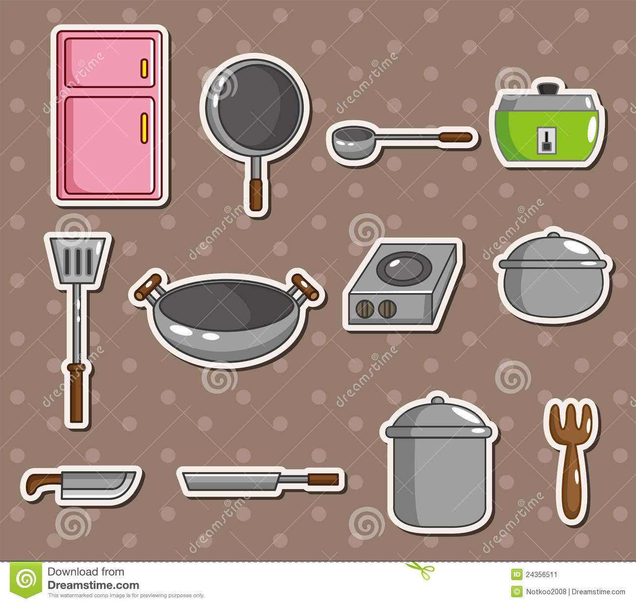 Cartoon Kitchen Stickers Stock Image - Image: 24356511
