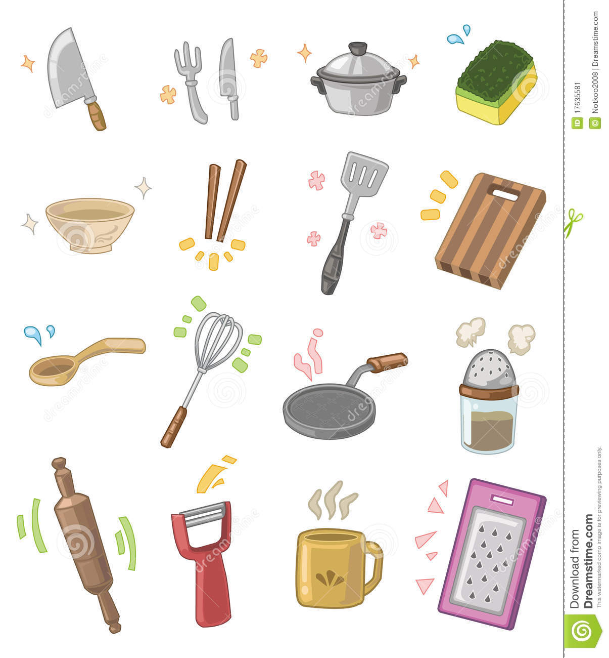 Cartoon Kitchen Utensils Stock Image - Image: 17635581