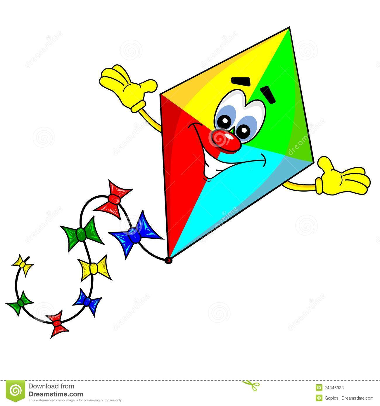 cartoon kite with smiling face on white background.