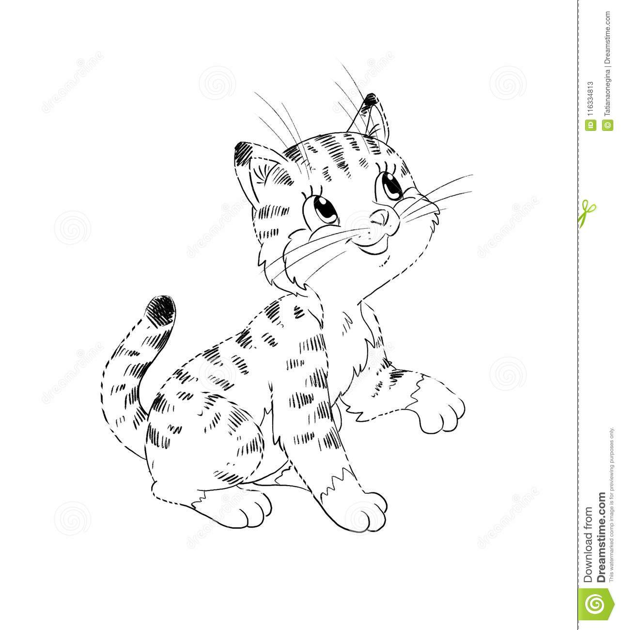 Cartoon Kitten Coloring Page Stock Illustration - Illustration of ...