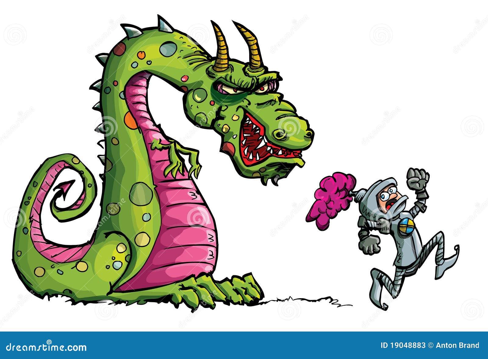 cartoon of a knight running from a fierce dragon stock photos