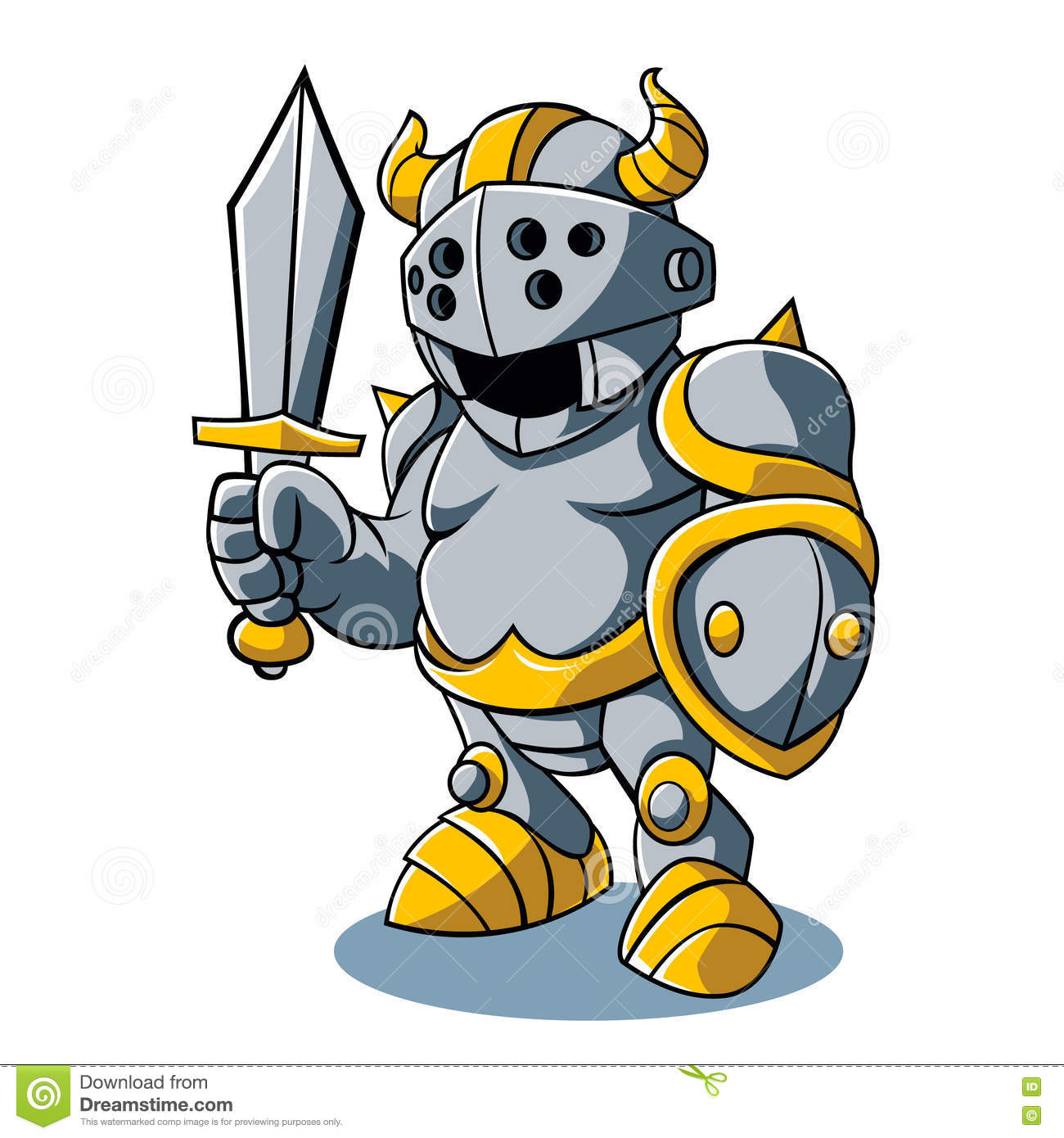 Cartoon knight with swords shield helmet army uniform