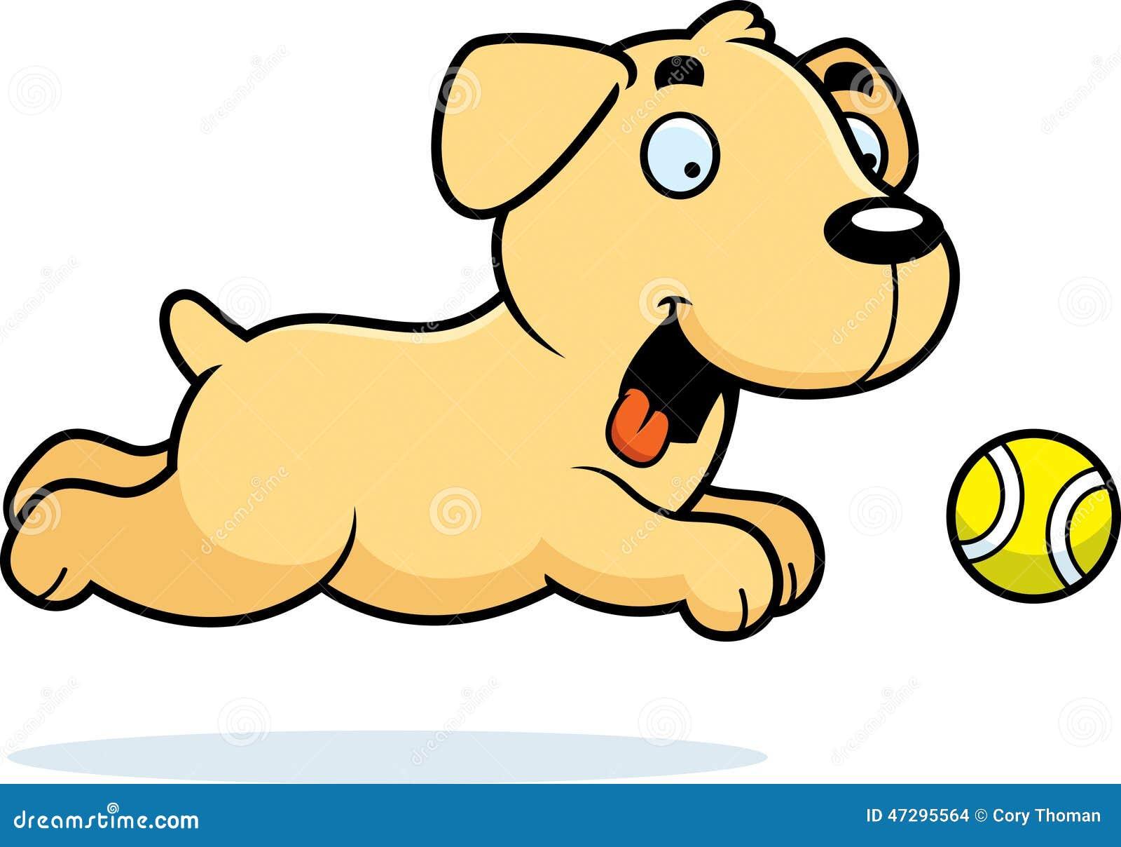 download cartoon labrador chasing ball stock vector illustration of animal tennis 47295564